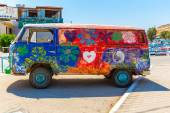 Hippie-Bus from the Hippie Festival in Matala — Stock Photo