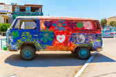 Hippie-Bus from the Hippie Festival in Matala — Foto de Stock