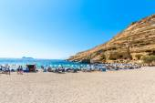 Pebbly beach Matala, Greece Crete — Foto Stock