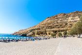 Pebbly beach Matala, Greece Crete. — Stock Photo