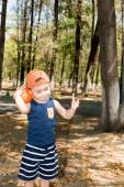 Little child boy in park on nature — Stock Photo
