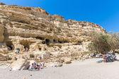 Pebbly beach Matala, Greece Crete — Stock Photo