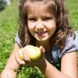 Adorable child girl with apples — Stock Photo #54965563