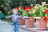 Little child girl in park near flowers — Stock Photo