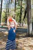 Little child boy with soccer ball — Stock Photo