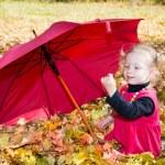 Child girl in autumn park — Stock Photo #61639643