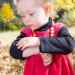 Cute child girl playing with fallen leaves in autumn park — Stock Photo #62259613