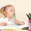 Little girl drawing — Stock Photo #62259637