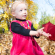 Cute child girl playing with fallen leaves in autumn park — Stock Photo #62260095