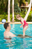 Father and daughter in pool — Stock Photo