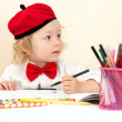 Child girl drawing — Stock Photo #62871037