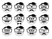 A set of hipster emoticons — Stock Vector