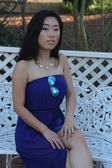 Pretty Chinese  girl in a blue dress — Stock Photo