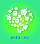 Valentine day heart of white flowers — Vector de stock