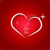 Corazón blanco sobre fondo rojo — Vector de stock