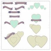 Set of stylised hearts with ribbons in vintage retro style — Stock Vector