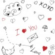 Valentine's Day Love and Hearts Sketchy Doodles Set — Stock Vector #64975113