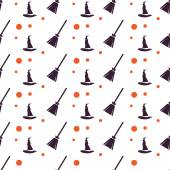Happy Halloween Background. Seamless pattern. Vector illustration. Collection of seamless patterns in the traditional holiday colors. — Stock Vector