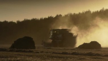 Agriculture combine harvester — Stock Video