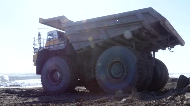 Excavador de la carga de un camión — Vídeo de stock