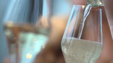 Champagne is pouring into a glasses — Stock Video