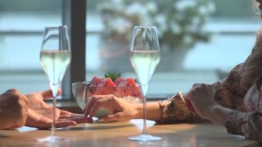 Loving couple in the restaurant — Stock Video