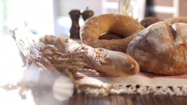 Various kinds of bread — Stock Video