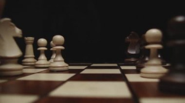 Chessboard and chess pieces — Stock Video