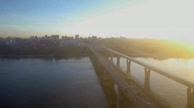 Bridge over river Ob — Stock Video