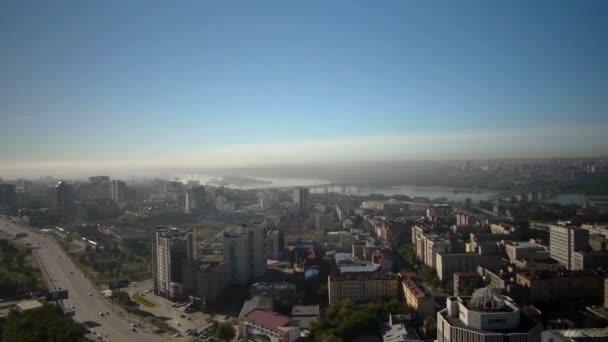 Aerial view of Novosibirsk city — Vidéo