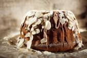 Delicious cake with chocolate and almonds — Stock Photo