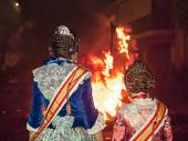 Crema in Fallas of Valencia on March 19 night all figures are bu — Stock Photo