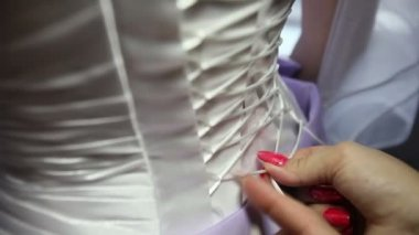 Lace corset on bride — Stock Video