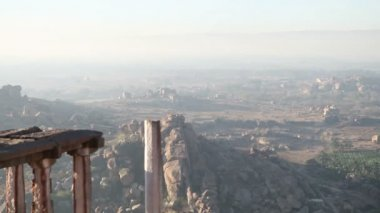 Viewpoint in mountains Hampi — Stock Video