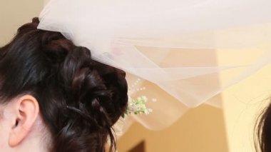 Bride hold veil — Stock Video