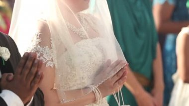 Bride with  groom in church — Stock Video