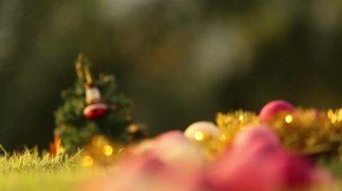 Christmas tree among  garlands — Stockvideo
