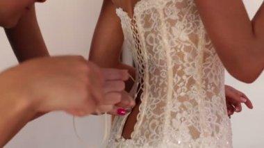 Bridesmaid lace bride  wedding dress — Stock Video