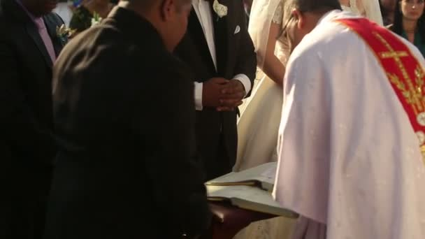 Indian groom and european bride — Vídeo de stock
