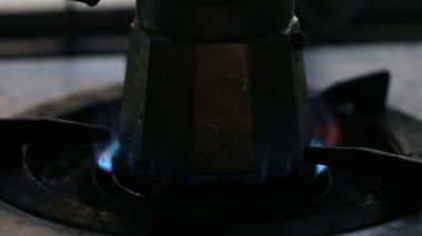 Gas fire  with coffee-pot — Stock Video
