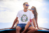 Bride and groom on boat — Stock Photo
