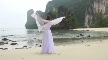 沙滩上的美丽新娘 — 图库视频影像