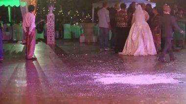 Relatives congratulate  bride at wedding — Stock Video