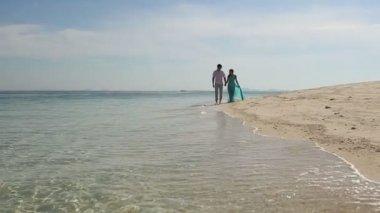 ビーチの上を歩いてのカップル — ストックビデオ