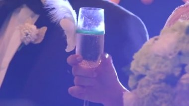 Groom and bride  with wine glass — Stock Video