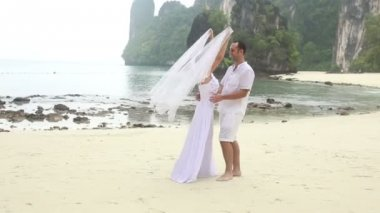 Noiva noivo coberta com véu — Vídeo stock