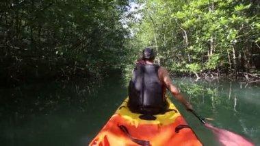 Man travelling   in kayak — Stock Video