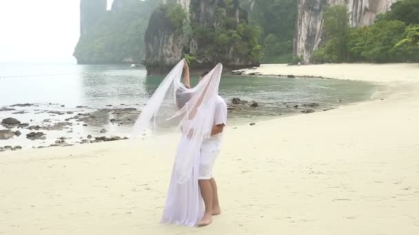 Bride covering groom with veil — Vidéo