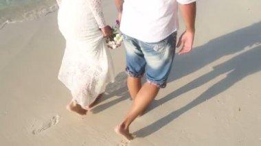 Bride and groom on sea beach — Stock Video