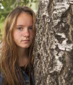Girl in the birch forest. — Stock Photo